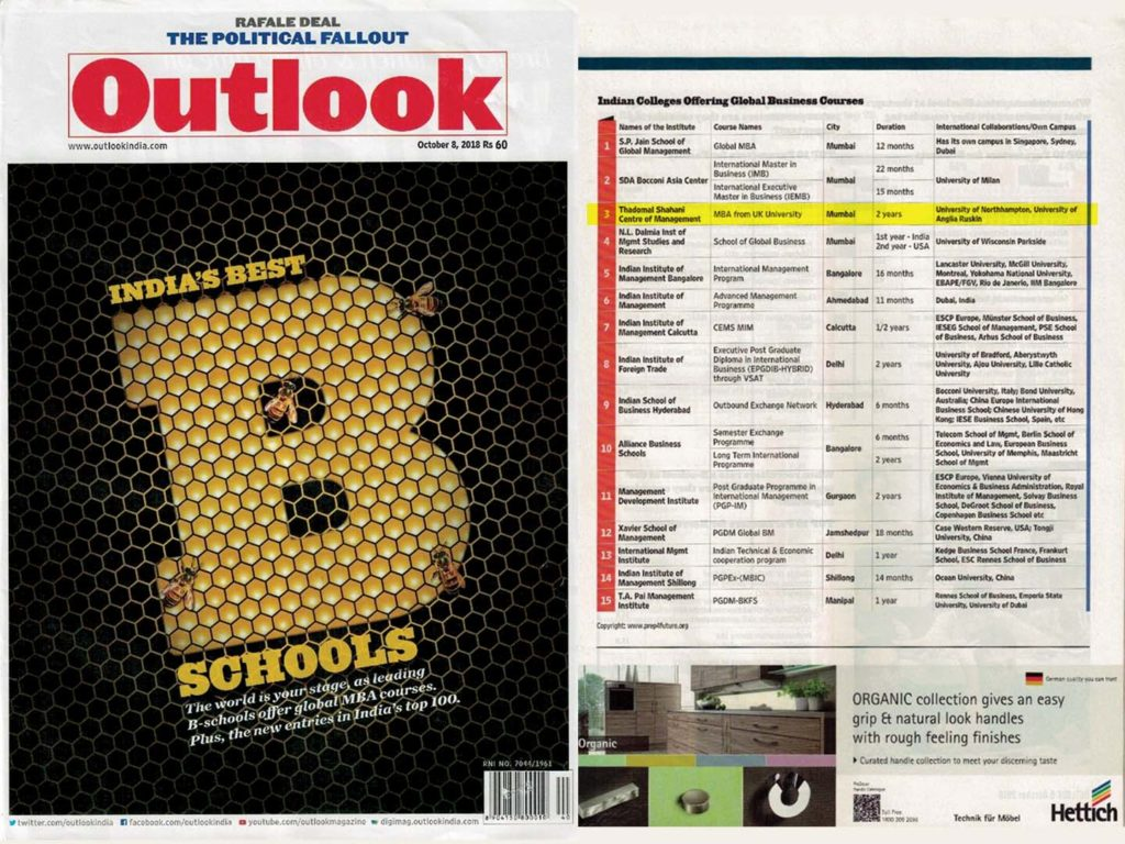 TSCFM Ranked 3rd in Outlook India for Global Business Courses