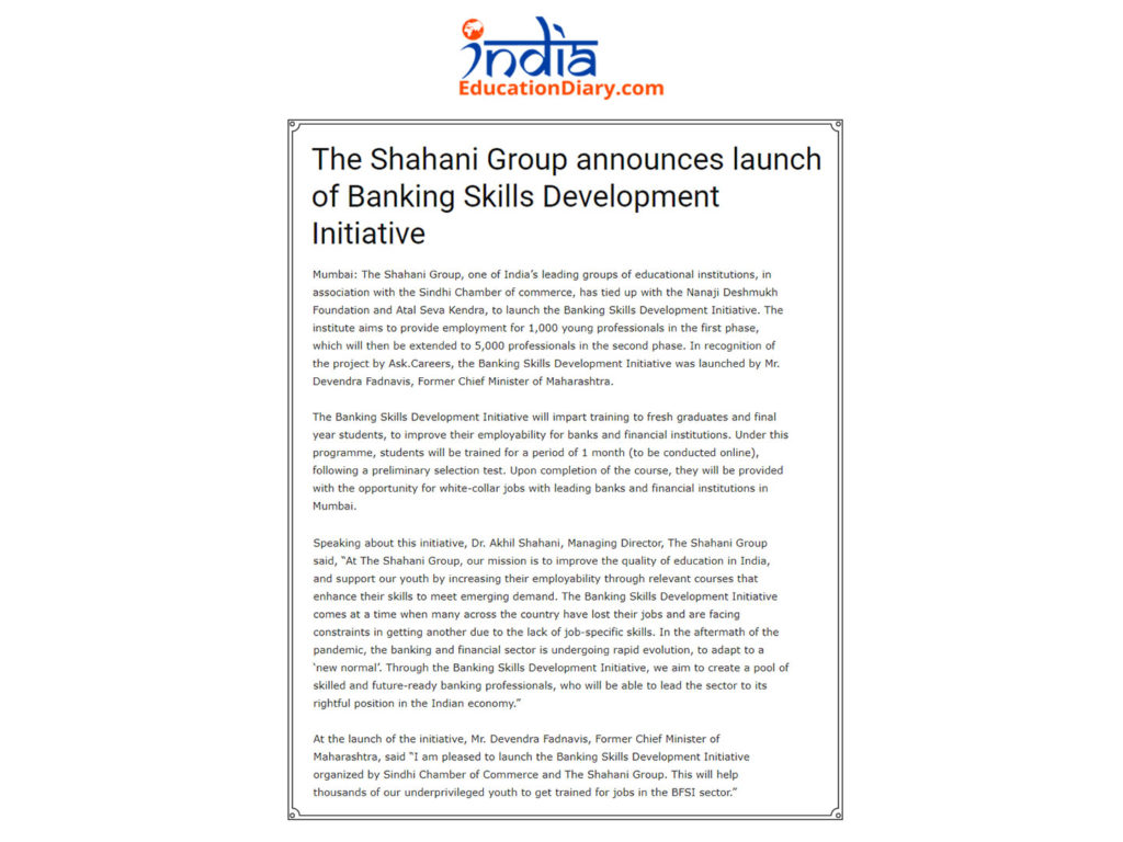The Banking Skills Development Initiative by The Shahani Group