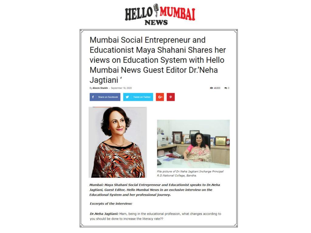 Mumbai Social Entrepreneur and Educationist Maya Shahani Shares her views on Education System