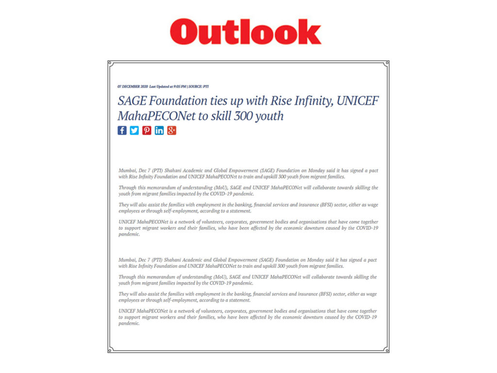 SAGE Foundation ties up with Rise Infinity, UNICEF MahaPECONet to skill 300 youth