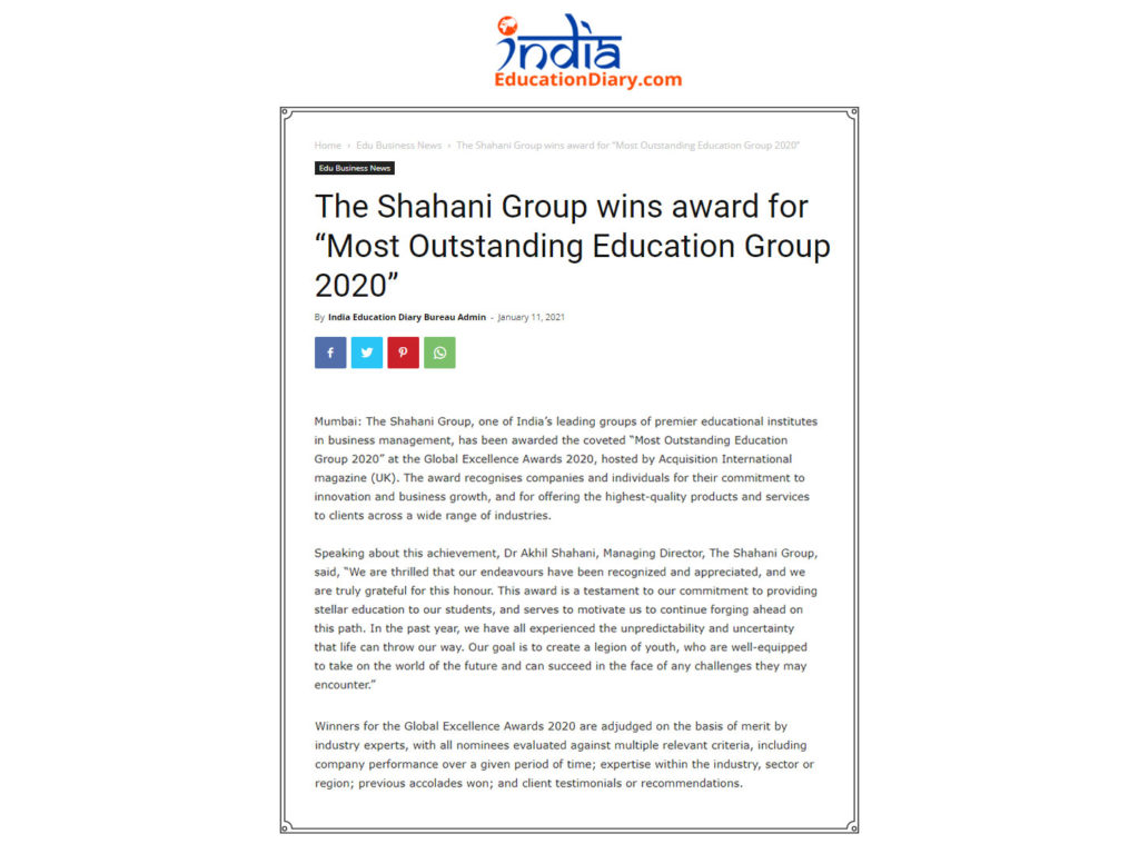 """The Shahani Group wins award for """"Most Outstanding Education Group 2020"""
