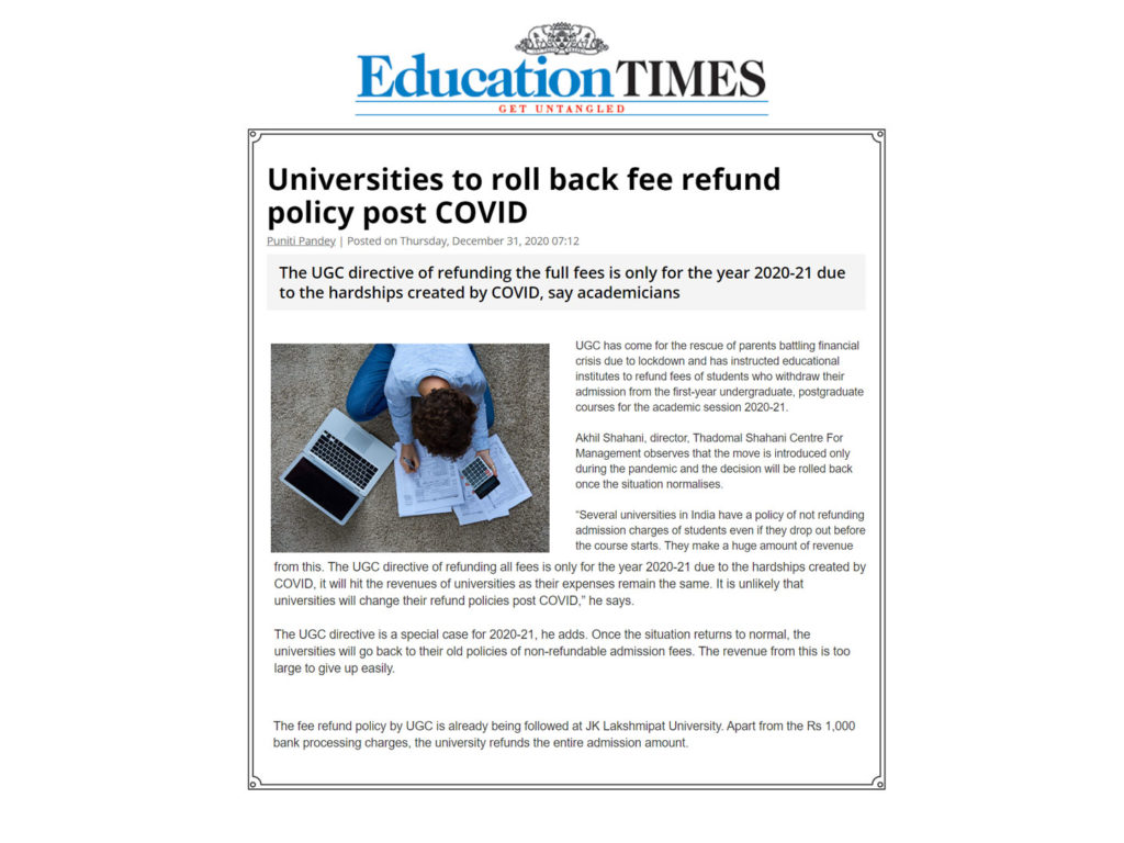 Universities to roll back fee return policy post COVID