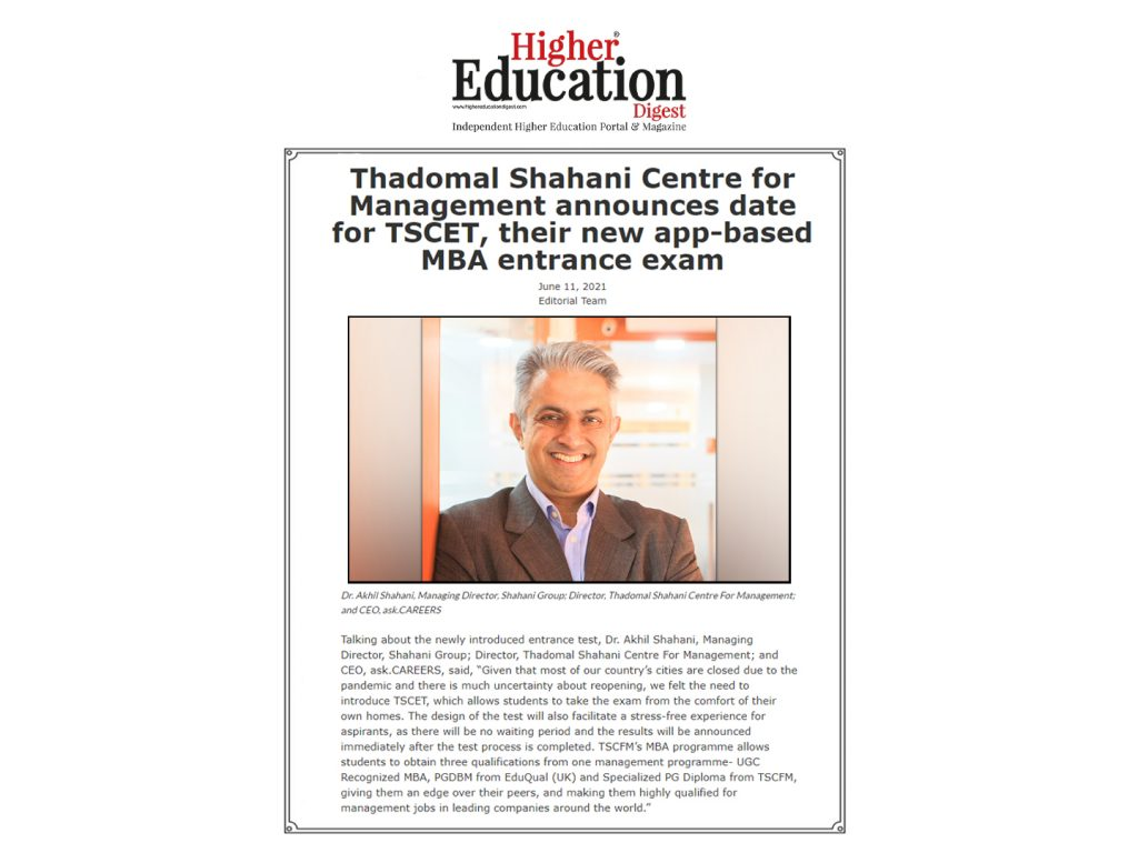 Thadomal Shahani Centre For Management Announces Date For TSCET, Their New App-Based MBA Entrance Exam