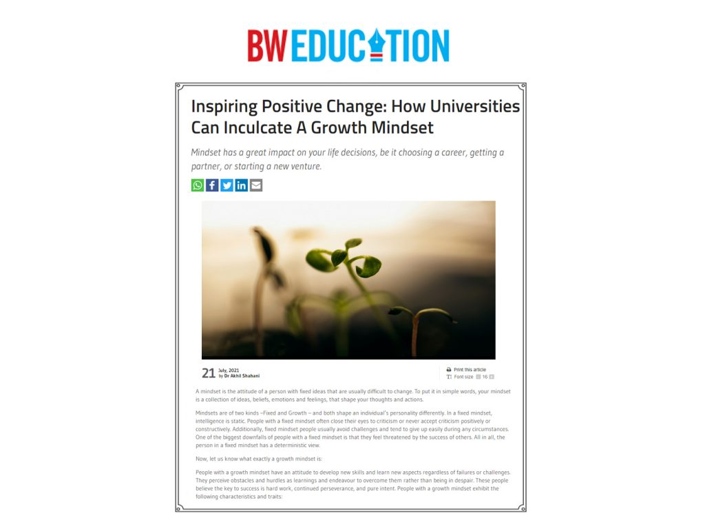 Inspiring Positive Change: How Universities Can Inculcate A Growth Mindset
