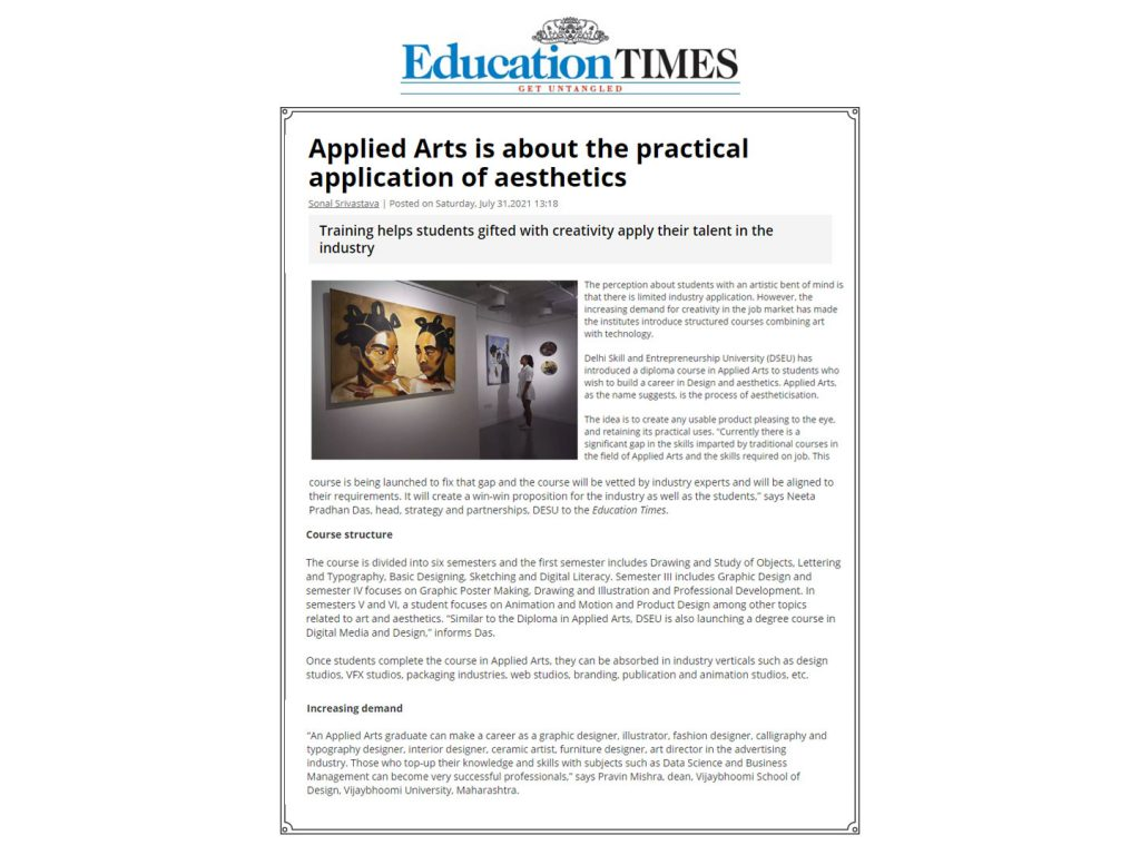 Applied Arts is about the practical application of aesthetics