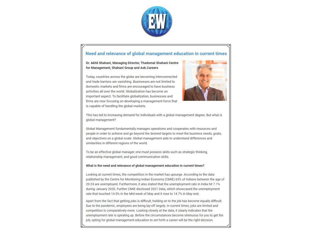 Need and relevance of global management education in current times