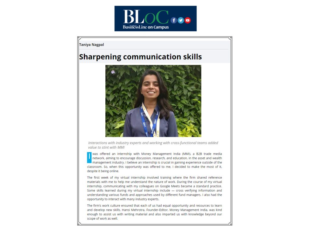 MBA Student Taniya Nagpal article featured in Business Line on Campus